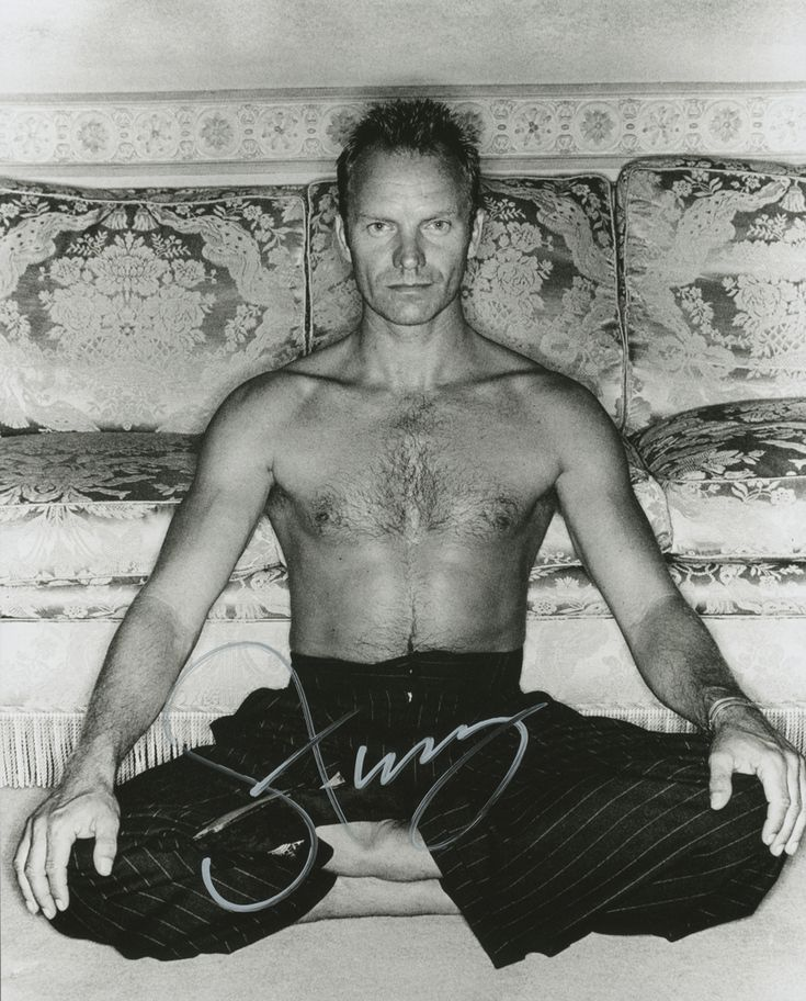 Sting Signed Photo Autographed Shirtless in Yoga Pose