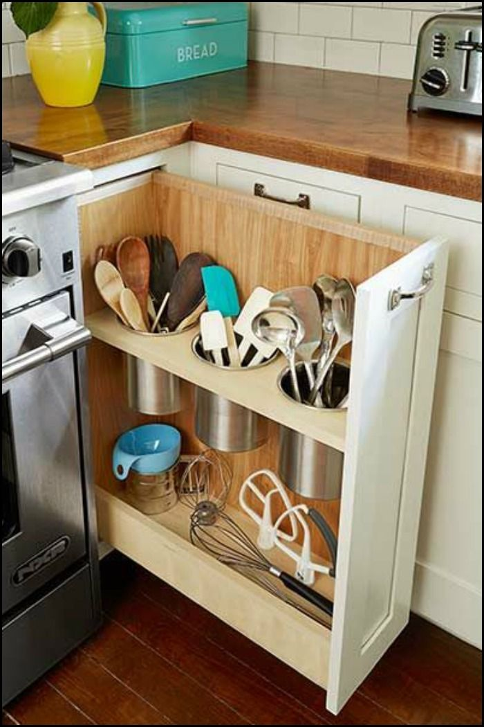 Here's one clever idea for making use of that small space under the counter!