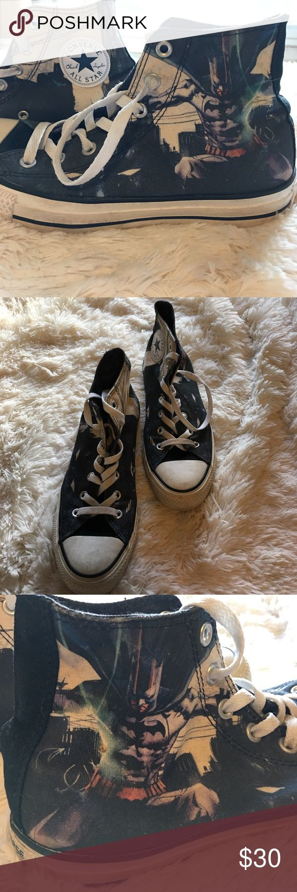 Converse Batman Chucks GUC  ladies size 6 Batman Chucks!! Worn only a handful of times. Full tread and laces are still white. Batman on one side Gotham on the other and bats inside. Converse Shoes