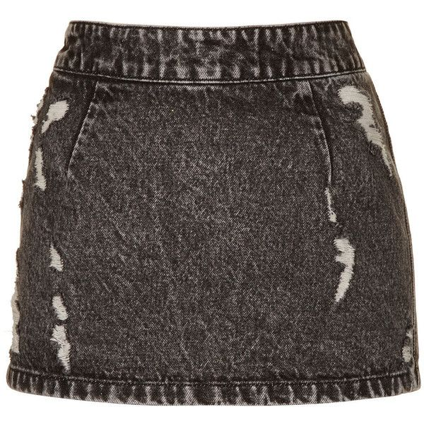 TOPSHOP MOTO Ripped Denim Pelmet (£7) ❤ liked on Polyvore featuring skirts, bottoms, topshop, denim skirts, black, topshop skirts, distressed skirt, ripped skirt, knee length denim skirt and ripped denim skirt
