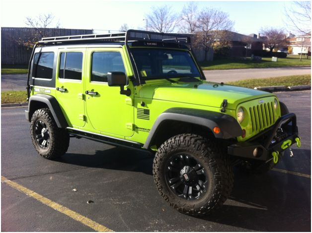 Jeep Jku Roof Rack >> I like the rims. Gecko green Jeep Wrangler JKU with Gobi roof rack (and other accessories) | Our ...