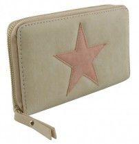 - Trendy portemonnee met ster gebroken wit kleur met roze