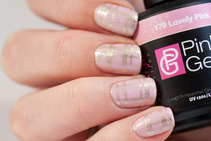 Pink Plaid Gel Nails