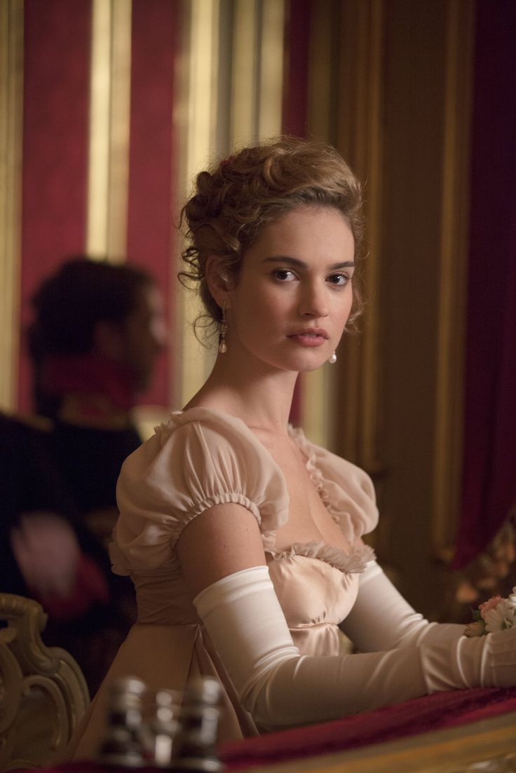 Lily James as Natasha Rostova in War and Peace (TV Mini-Series, 2016).