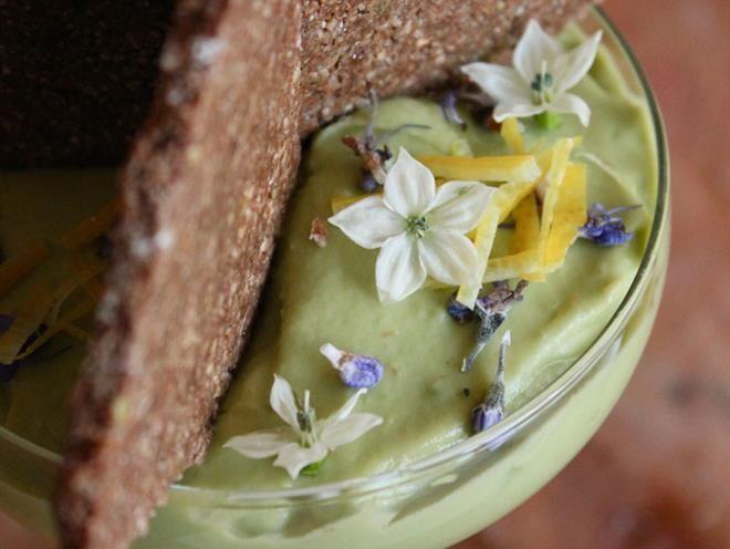 Avocado, Rosemary & Lemon Cream w/ Raw Buckwheat Chocolate Biscuit