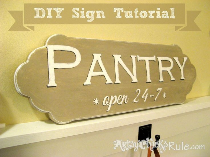Easy, DIY Pantry Sign TUTORIAL {Chalk Paint & Graphics} #chalkpaint #sign #graphics- artsychicksrule.com