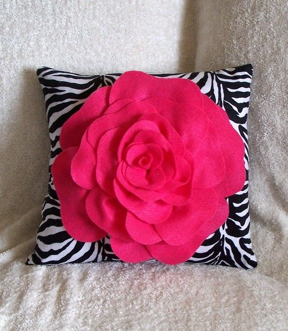 Hot Pink Rose on Zebra Pillow 14 x 14 by bedbuggs on Etsy, $31.00