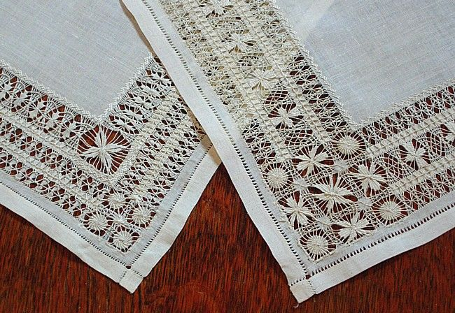 """Splendid pair of antique linen doilies were likely worked as drawn work lace """"samplers"""" to show off exceptional skill in this art form. Each is a wee bit different with intricate woven patterns that frame a simple row of fancy work embroidery...oh, MY! These would be wonderful framed, don't you think?! c.1900 9"""" square - Em's Heart Antique Linens"""