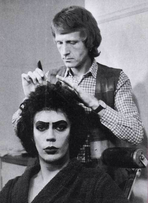 tim curry getting his hair and make up done 1975