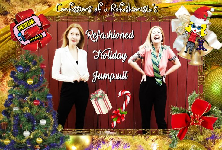 Grab my DIY Vintage Holiday Jumpsuit Refashion Tutorial + instant upcycled earrings and create your own unique sustainable style for xmas!