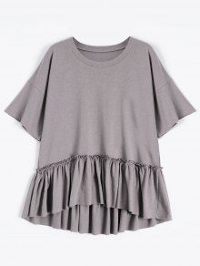 Short Sleeve Ruffle Hem T-Shirt – Smashing – All things beauty