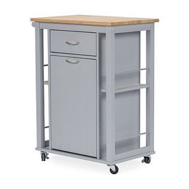 Baxton Studio 25.5-In L X 16.875-In W X 34.375-In H Gray Eclectic Kitchen Cart Rt311-Occ