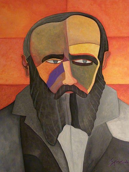 FJODOR DOSTOJEWSKI - acrylic on canvas 100×80,  2009, portrait by Pietro Spica.