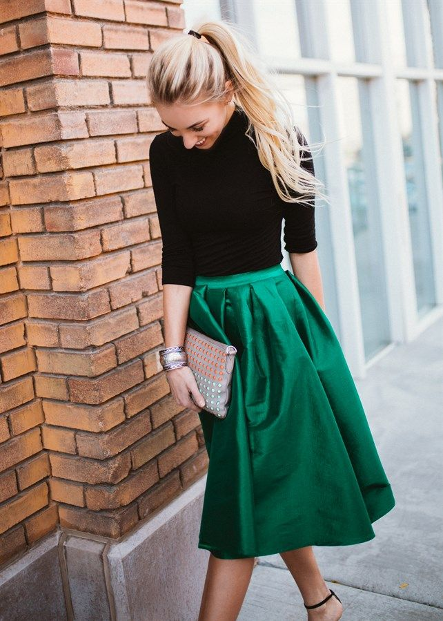 Have all the heads turning at your holiday parties in this on trend, vintage style skirt.  Best part,  the fabric has a little stretch which makes it crazy comfortable and flattering so you party all season long!