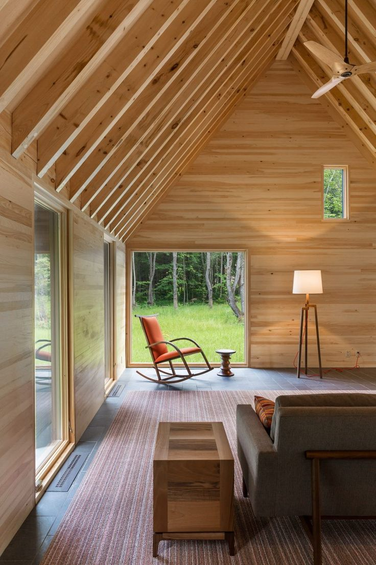 HGA creates cedar-clad cottages for classical musicians in Vermont. Stilt Floor Lamp by Blu Dot.