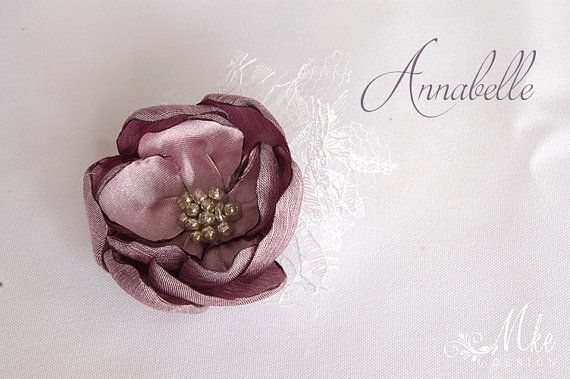 White and mauve groom best man brooch with lace satin by MkeFlower