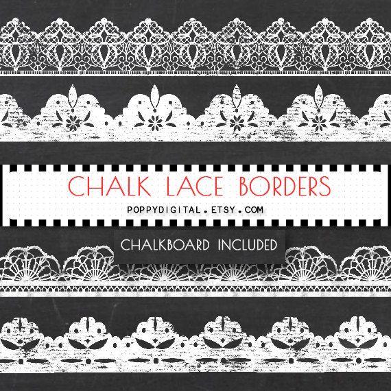 Chalkboard Lace Borders Digital Clipart {lace borders, lace clipart, chalkboard, chalkboard borders, lace clipart, lace digital}