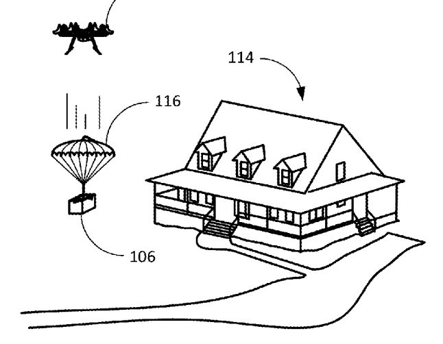 Amazon patents putting a parachute inside a shipping label that's gets dropped from a drone.