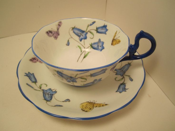 Royal albert crown china cup u0026 saucer white flowers butterflies blue trim handl & 59 best