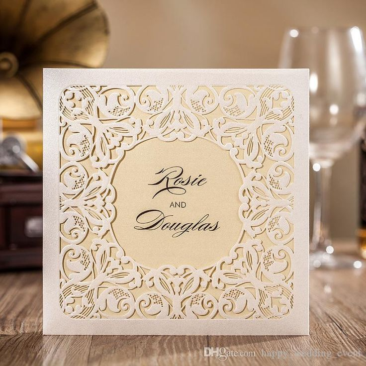 Chic Flower Lace Pocket Wedding Invitation Card, 2016 White Hollow Flower  Square Party Invites Free Customized Print Text CW6080 DHL