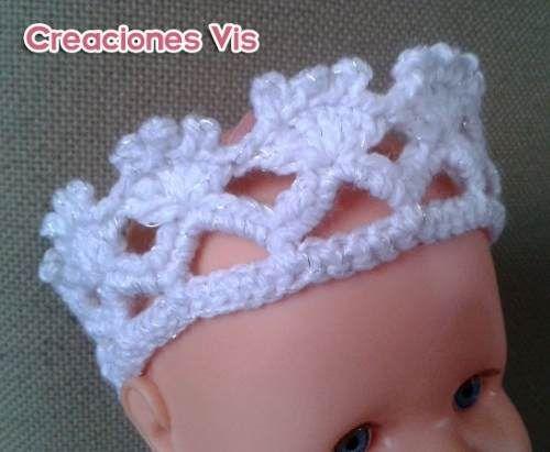 Linda corona de princesa para tu ni a tejida a crochet for Diademas para bebes de ganchillo