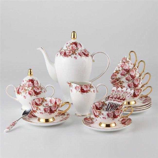 """""""Classic Flower"""" Bone China Full Tea Set"""