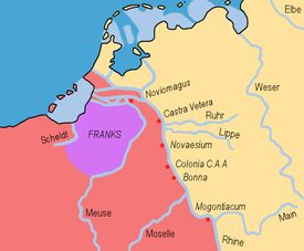 """Salian Franks (Latin: Salii) were a subgroup of the early Franks who first appear in the historical records in the 3rd century AD Toxandria, original acquired homeland of the Salian Franks, within the Western Roman Empire, labelled """"Franks"""""""