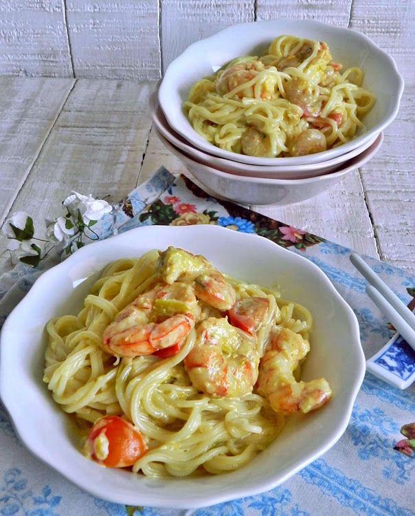 La cocina de Vifran: Espagueti al curry con gambones y tomatitos cherry...