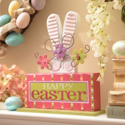 Spring a touch of holiday fun into your home with this Happy Easter Bunny Block! #kirklands #BunnyLove