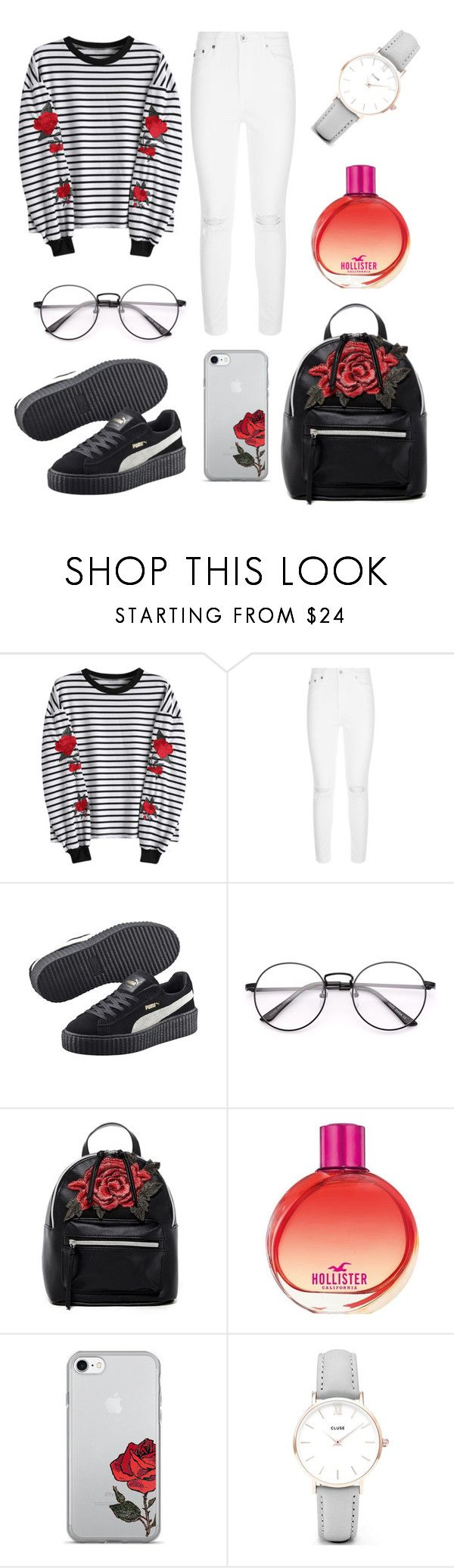 """""""Just Roses"""" by burovaa-ria ❤ liked on Polyvore featuring AG Adriano Goldschmied, Puma, T-shirt & Jeans, Hollister Co. and CLUSE"""