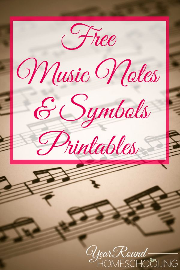 Download these FREE music notes & symbols printables designed by Annette B. at Year Round Homeschooling.