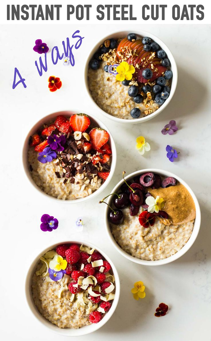 Let me show you 4 ways to enjoy the best Instant Pot Steel Cut Oats ever! Add any milk you want to make it high fat, low fat, vegan, vegetarian, whichever way you like. via @greenhealthycoo