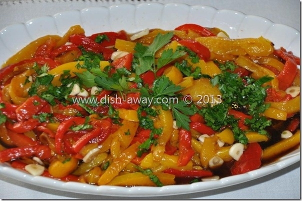 Roasted Peppers Salad Recipe: a traditional Bulgarian dish that reminds me of my mother and her wonderful food! http://www.dish-away.com/2013/02/roasted-peppers-salad-recipe.html