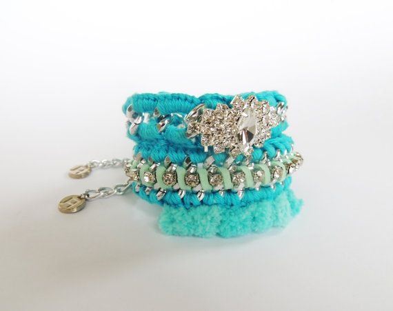 Cute bracelets pom pom bracelet bracelet set by JewelryLanChe https://www.etsy.com/listing/249726066/cute-bracelets-pom-pom-bracelet-bracelet?ref=shop_home_active_2 #turquoise #bracelet #pompom