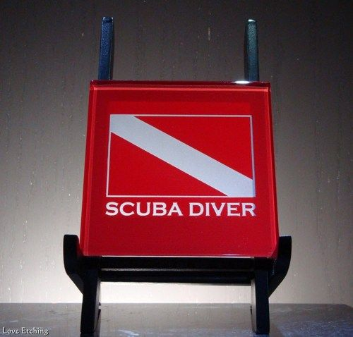 1 SCUBA DIVER Scuba Diving, Dive Flag Etched Glass Red Wall Tile, Sign, Coaster, Birthday, Christmas, Mother's / Father's Day, Glass Art