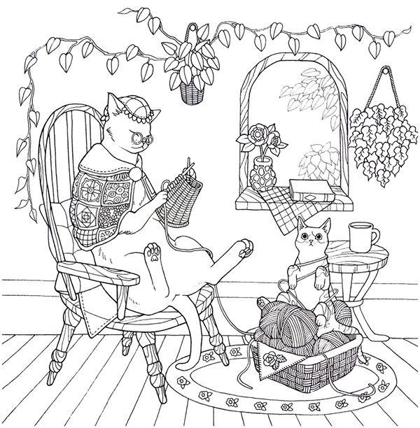 Cat Coloring Therapy Coloring Book Download Coloring Books Cat Coloring Book Santa Coloring Pages
