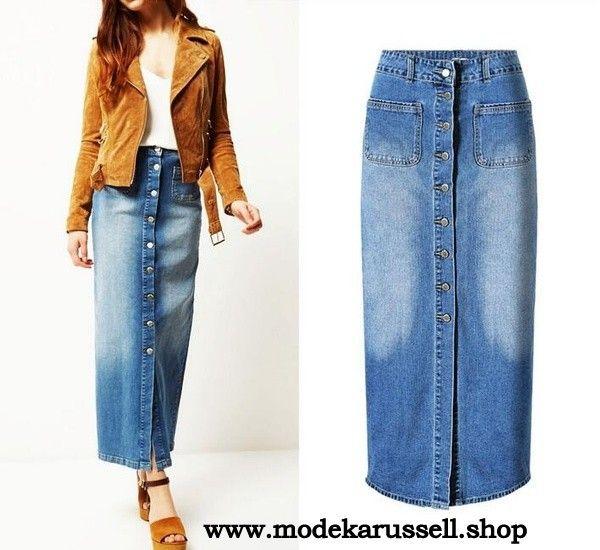 Damen Jeans Rock Knöchellang in Blau