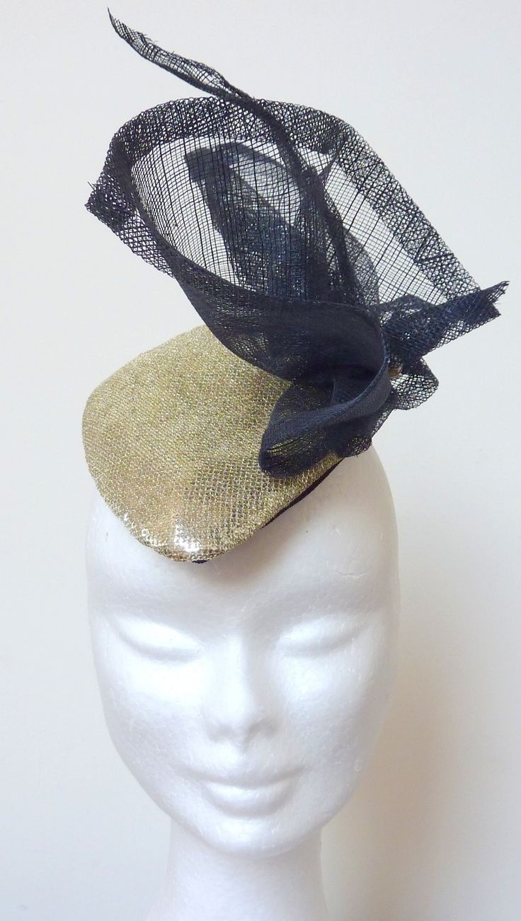 Race hat gold/ cocktail hat/ handmade hat Gold shimmery fabric hand-blocked diamond shaped base. Navy sinamay trim