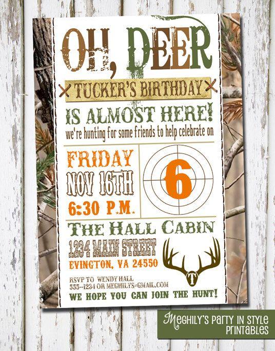 Hunting Theme - Birthday Invitation by Meghilys on Etsy https://www.etsy.com/listing/113032104/hunting-theme-birthday-invitation