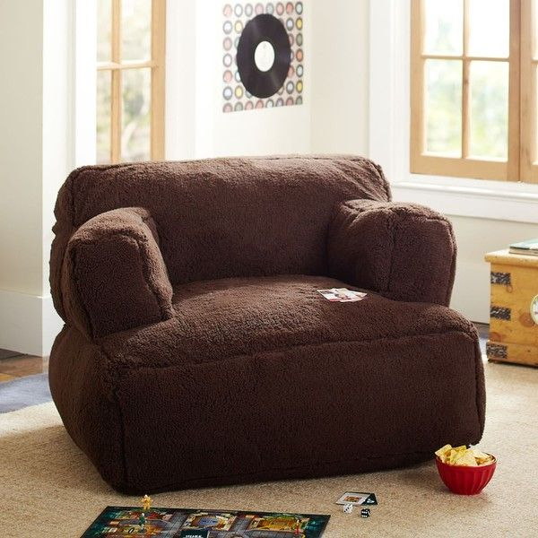 PB Teen Sherpa Faux Fur Chocolate Eco Lounger, Single at Pottery Barn... ($249) ❤ liked on Polyvore featuring home, furniture, chairs, accent chairs, brown, plush chair, dark brown furniture, brown furniture, chocolate brown accent chair and brown accent chair
