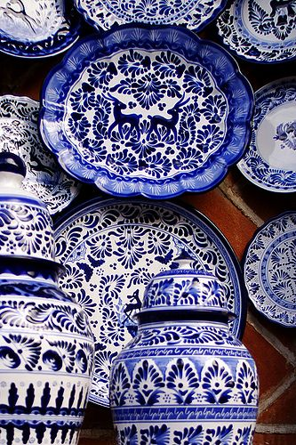 Blue and white pottery...timeless...whether it's Mexican, Italian, Asian, French or English!