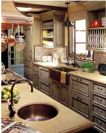 kitchen ideasDecor, Kitchens Design, Dreams Kitchens, Cabinets Colors, Cabinet Colors, Rustic Kitchens, Kitchens Ideas, Mediterranean Kitchens, Farmhouse Sinks