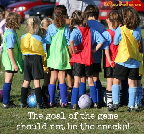 Kids don't need snacks in recreational sports! from 100 Days of #RealFood #soccer #kidssports
