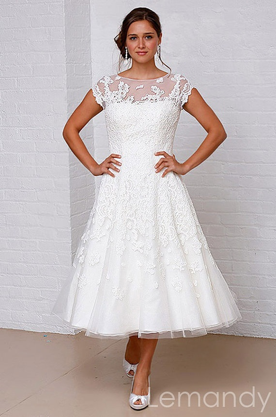 Tea Length Short Sleeves Scoop Princess Organza With Lace