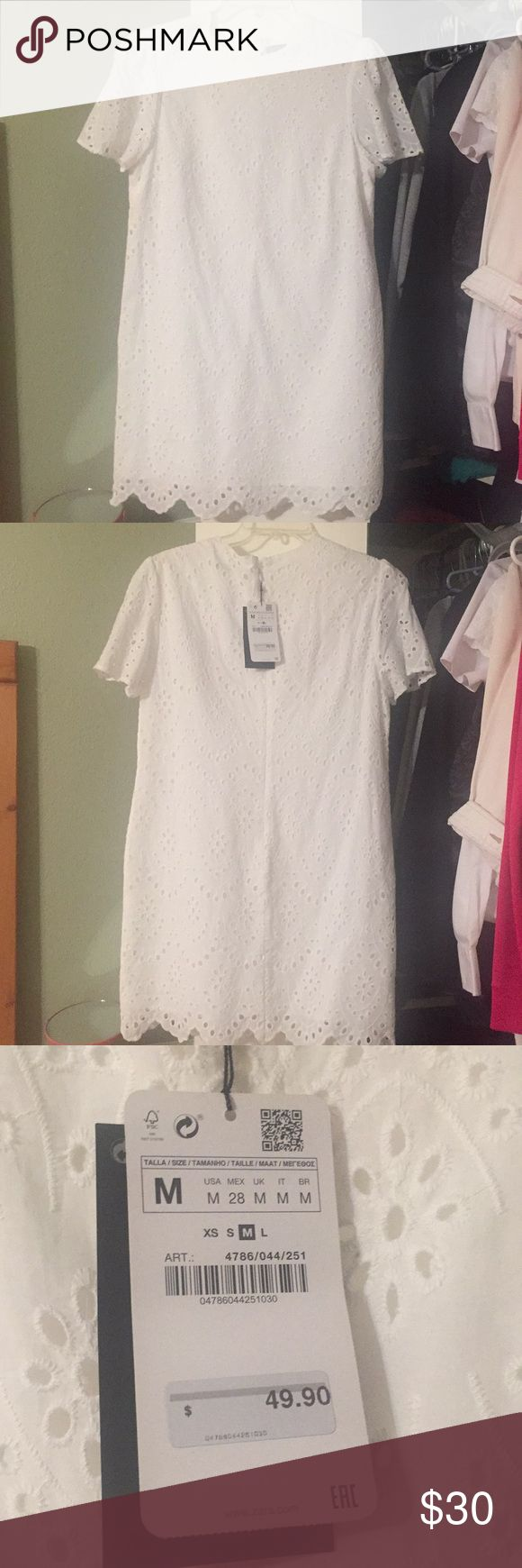 Perfect brunch dress! Brand new, never worn white dress from Zara. It's a little big on me, still has the tag and had some makeup near the neck area which will just come off when you wash it. If you want more pictures, just ask :) Zara Dresses