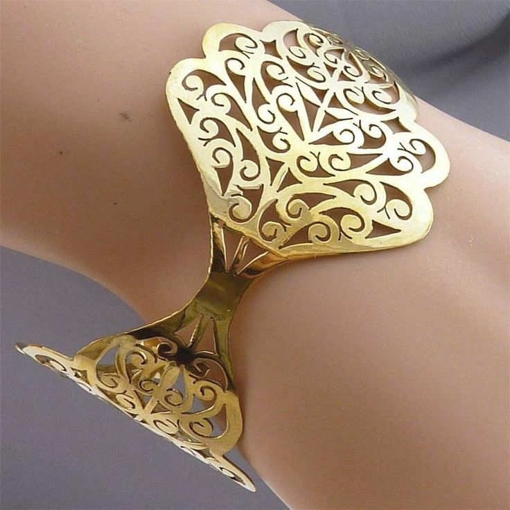 BRASS *SilverSari JALI LOTUS CUFF Bangle* Hand-crafted by Silversmiths * Free Sz