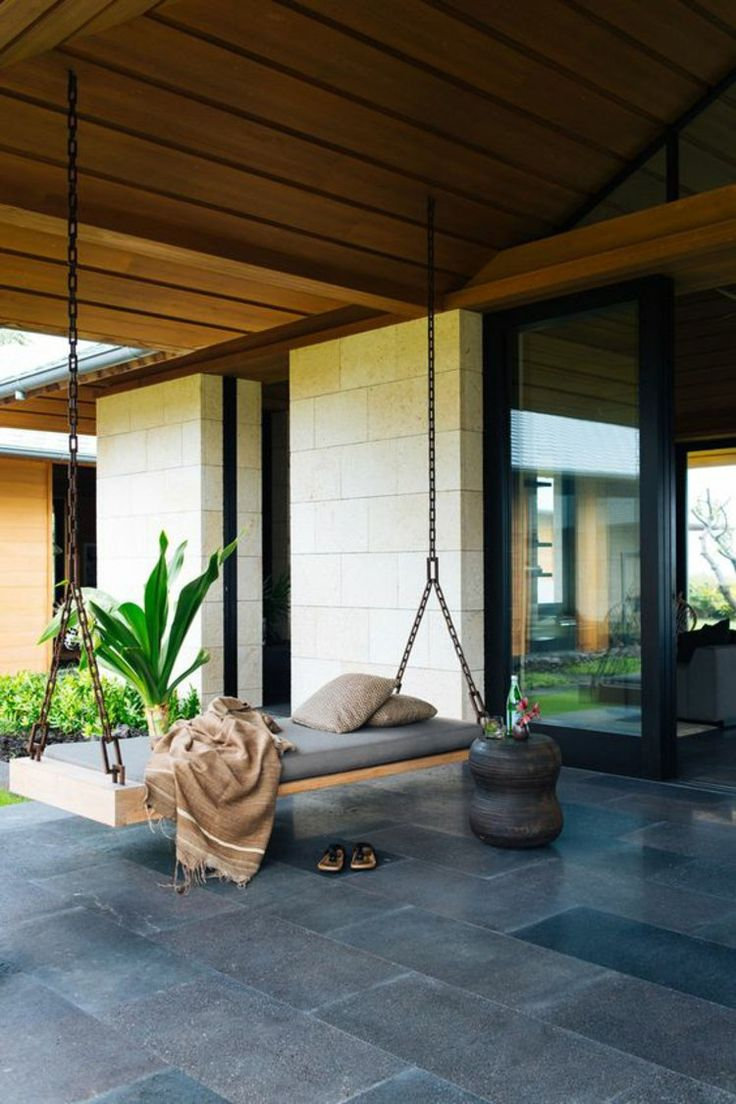 Schön Moderne Terrassengestaltung Ideen Schaukelbett Im Außenbereich
