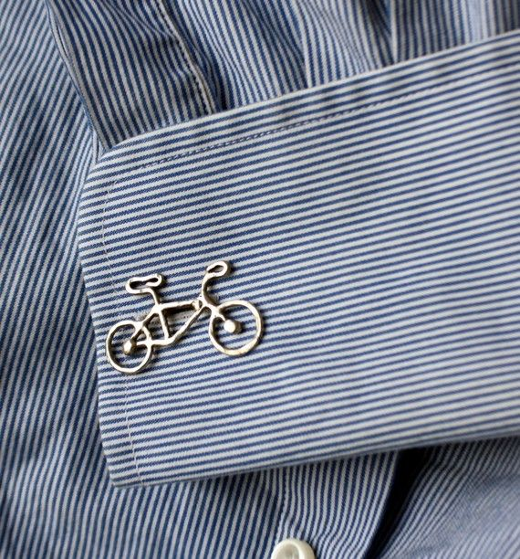 Sterling Silver Bike Cuff Links by RachelPfefferDesigns