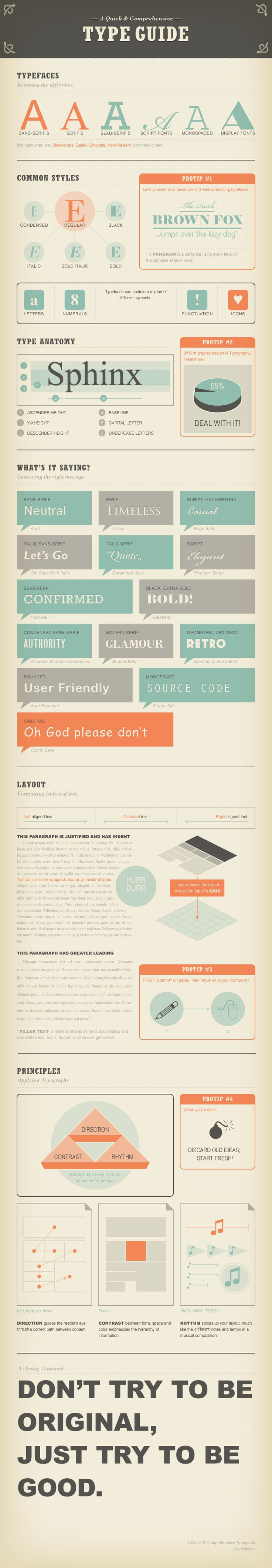 don't try to be original, just try to be good: Typeguide, Graphic Design, Guide Infographic, Graphicdesign, Type Guide, Typography, Infographics, Comprehensive Type