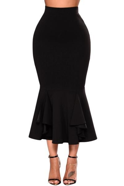 Black Ruffled Midi Mermaid Skirt #cheap #midiskirt #black